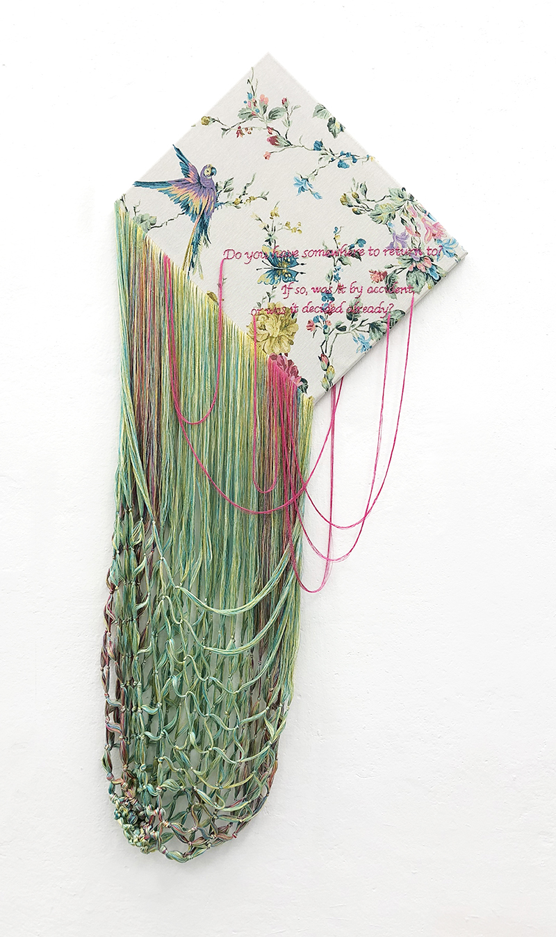 """TEZUKA Aiko 手塚愛子 """"Mutterkuchen (Placenta) – 01"""" 2018, Embroidery and a knitted basket with unravelled readymade fabric, wooden frame, 155 x 70 cm"""