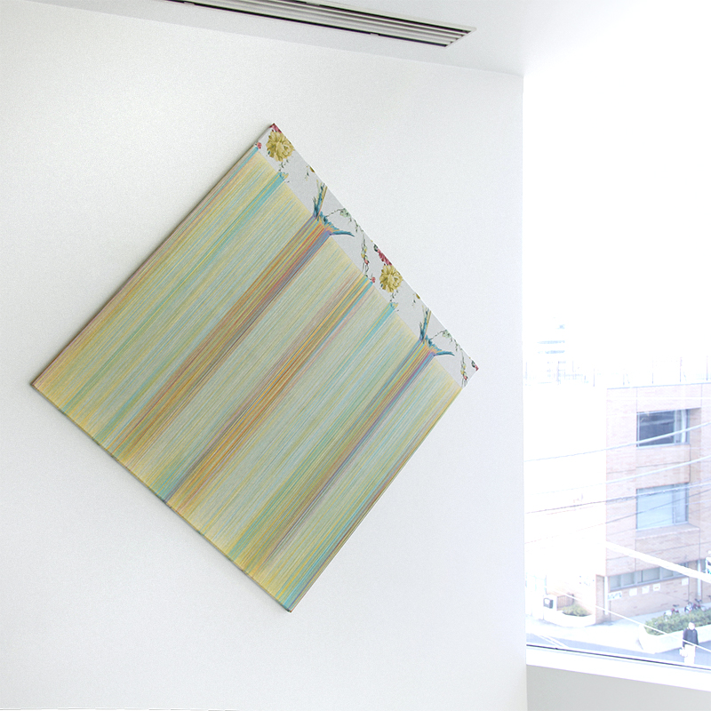 """TEZUKA Aiko 手塚愛子 """"drawing Fragile Surface (daydream) D01″ 2018, Unravelled fabric wooden frame, 120 x 120 cm"""
