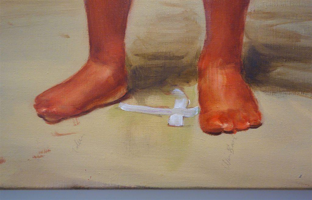 """ミヒャエル・ボレマンス Michaël Borremans """"Fire from the Sun (single figure standing)"""" 2018, oil on canvas, detail"""