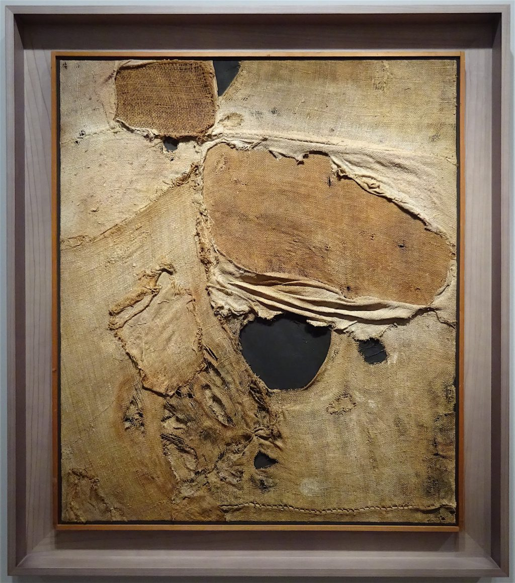"Alberto Burri ""Sacco SP4"" 1956, Burlap and acrylic on canvas 100 x 86 cm @ Luxembourg & Dayan"