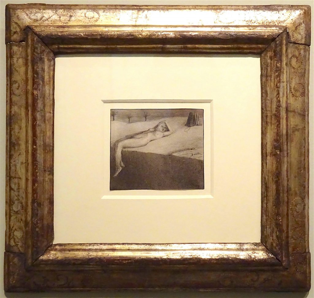 """Alfred Kubin """"Reclining Nude by a Cliff"""" circa 1900, Pen and ink and wash on paper @ Richard Nagy"""