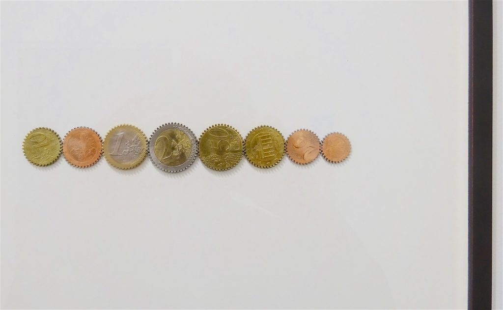 "Alicja Kwade ""Treibwerk"" 2016, 8 coins, framed, Variation 7 of 8, with 2 AP @ 303"