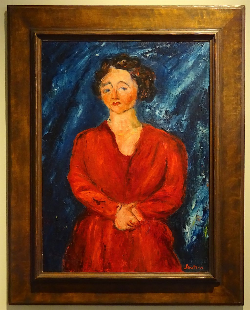 """Chaim Soutine """"Woman in Red on Blue Ground"""" 1928, Oil on canvas"""
