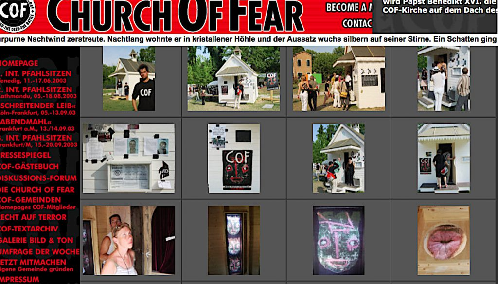 Christof Schlingensief Church of Fear (later exhibited at Venice Biennale 'Utopia' 2003) down, right, inside the church a stained glass with asshole pic