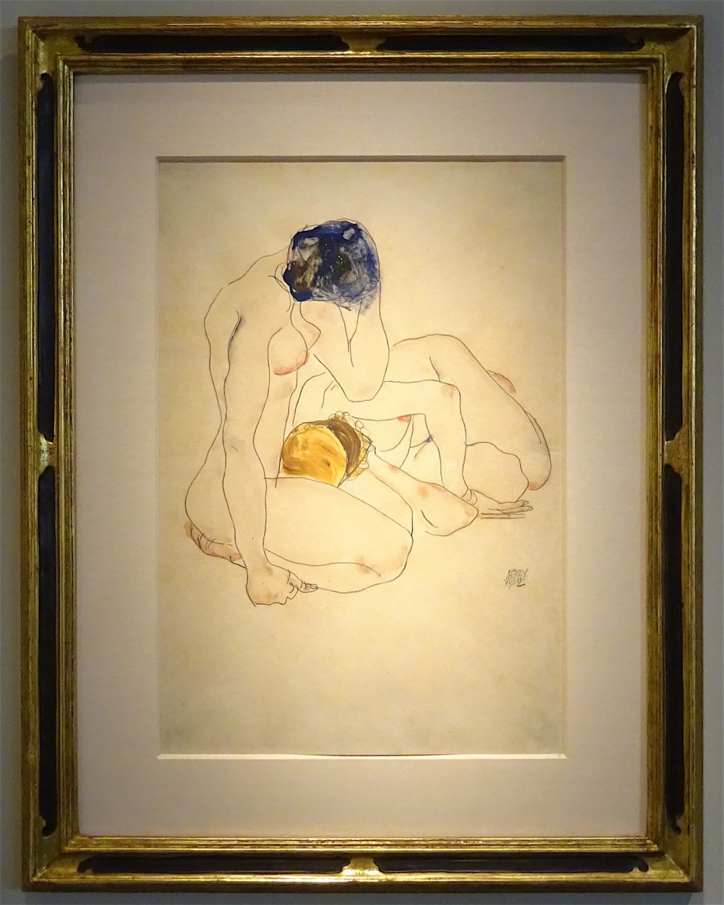 """Egon Schiele """"Two Friends"""" 1912, Gouache, watercolour and pencil on paper, 44.4 x 30.2 cm, Signed and dated 'Egon Schiele 1912', lower right @ Richard Nagy"""