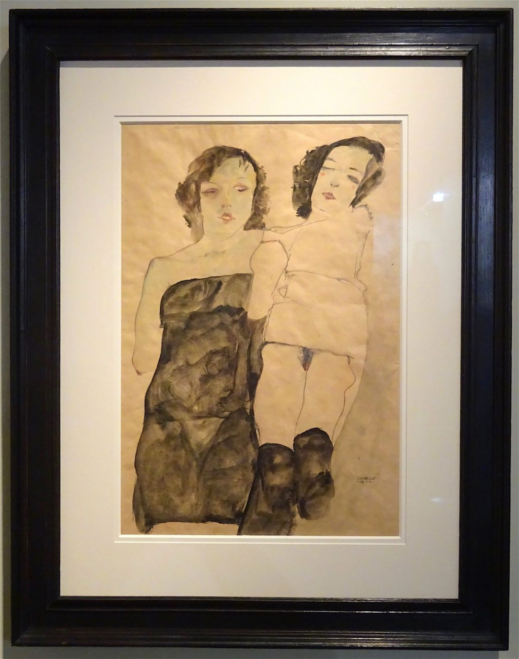 """Egon Schiele """"Two Girls"""" 1911 Watercolor and pencil on paper @ Richard Nagy"""