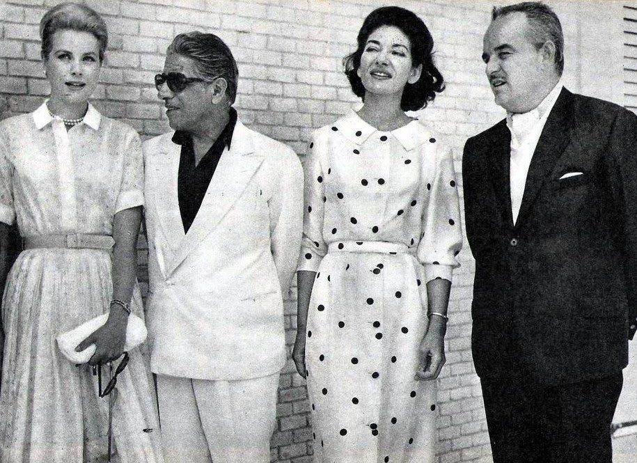 Grace Kelly, Aristotle Onassis, Maria Callas and Rainier de Monaco, 1961