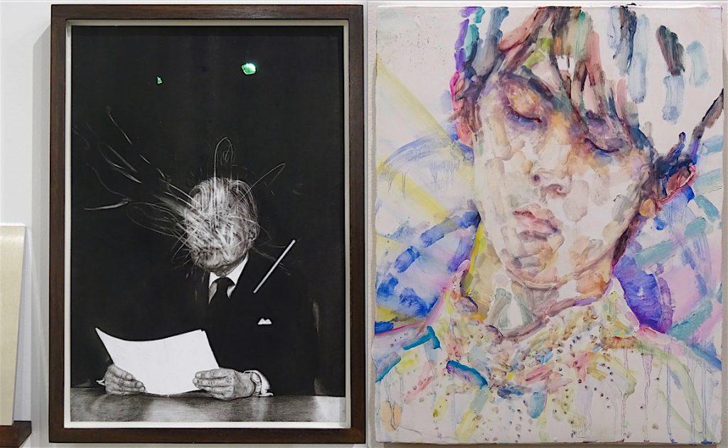 """KOIZUMI Meiro 小泉明朗作 「The Symbol #4」2018, Annet Gelink Gallery + Elizabeth Peyton """"Hanyu (Yuzuru Hanyu)"""" 2018, Oil on board, Galerie Thaddaeus Ropac"""