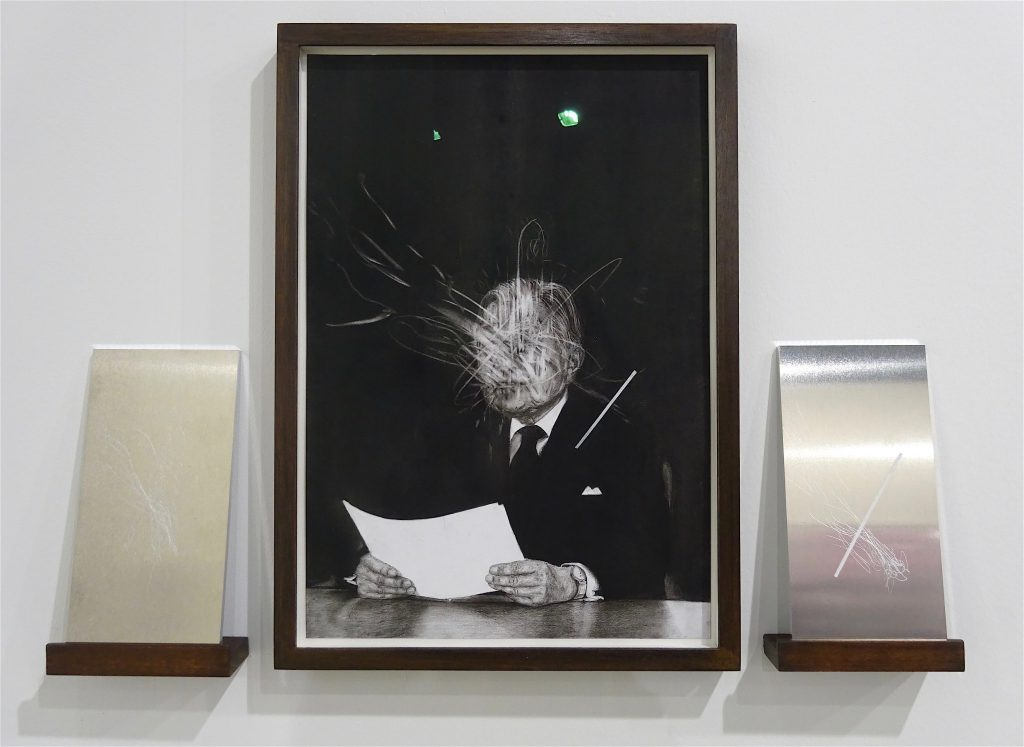 KOIZUMI Meiro 小泉明朗 「The Symbol #4」2018, Charcoal on paper and 2 engraved metal sheets, Annet Gelink Gallery