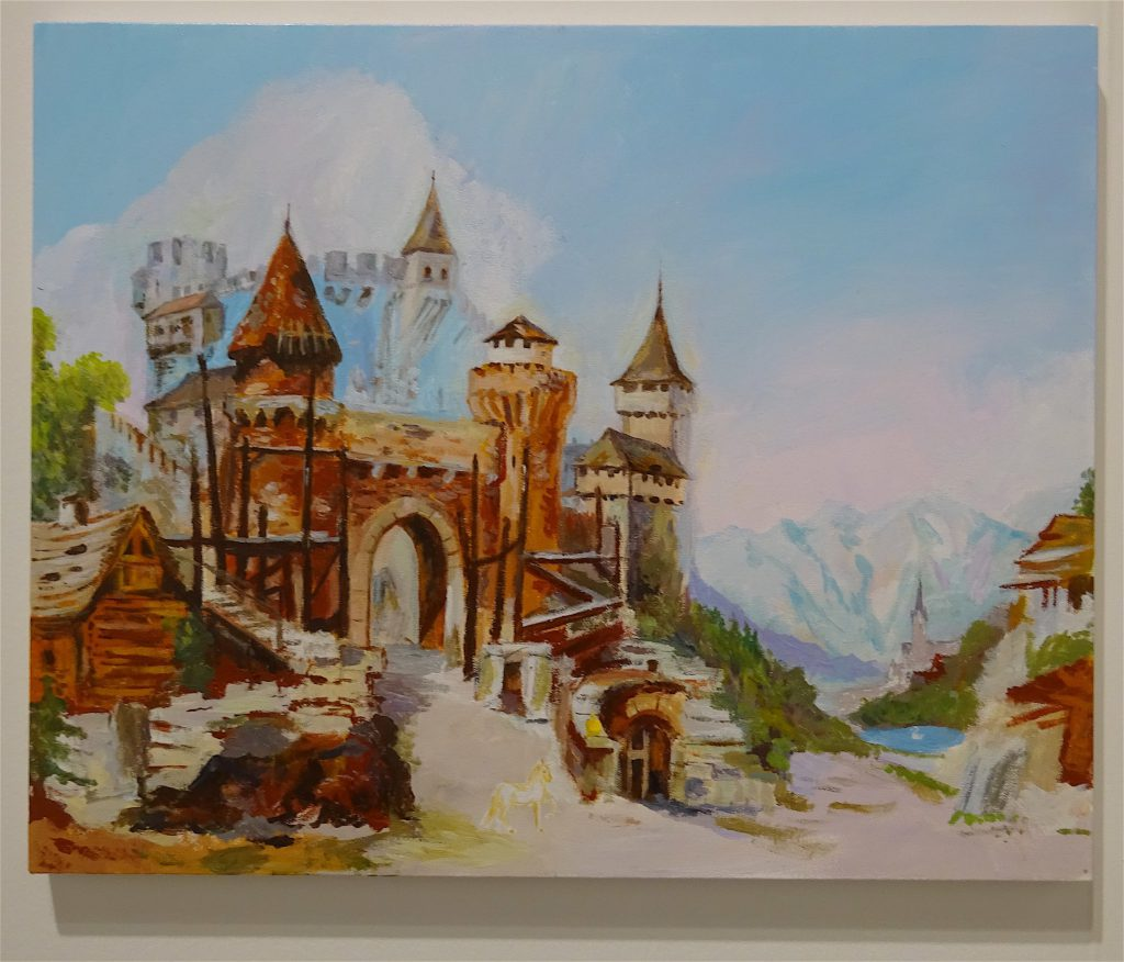 """Karen Kilimnik """"a perfectly ordinary day at the castle gate – the white swan, the unicorn + a golden apple"""" 2018, Water soluble oil color on canvas, 40.6 x 50.8 cm @ 303"""
