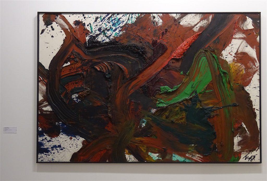 """Kazuo Shiraga """"Kyoka Kenro"""" 1982, Oil on canvas, 130 x 195 cm @ Fergus McCaffrey"""