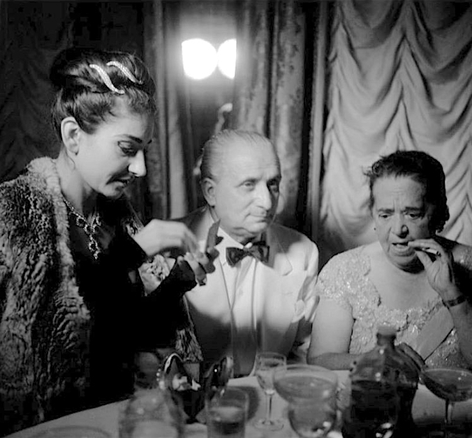 Maria Callas, husband Giovanni Meneghini, US gossip columnist, professional hostess Elsa Maxwell ca. 1957