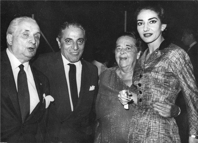 Maria Callas with Elsa Maxwell, Aristotle Onassis, and her husband Giovanni Batista Meneghini