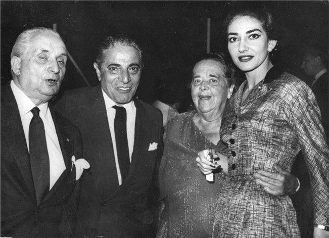 Maria Callas with Elsa Maxwell, Aristotle Onassis, and her husband Giovanni Batista Meneghini