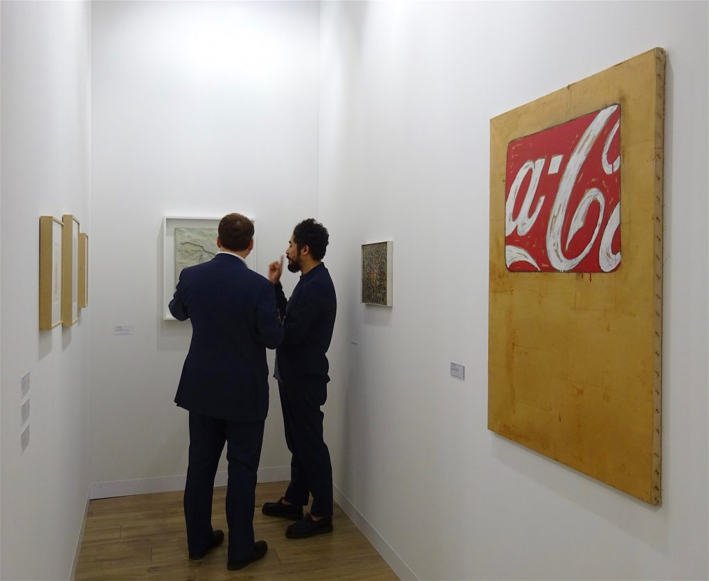 "Mario Schifano ""Coca Cola"" 1978, Oil on jute and wrapping paper, 110 x 80 cm @ Fergus McCaffrey"