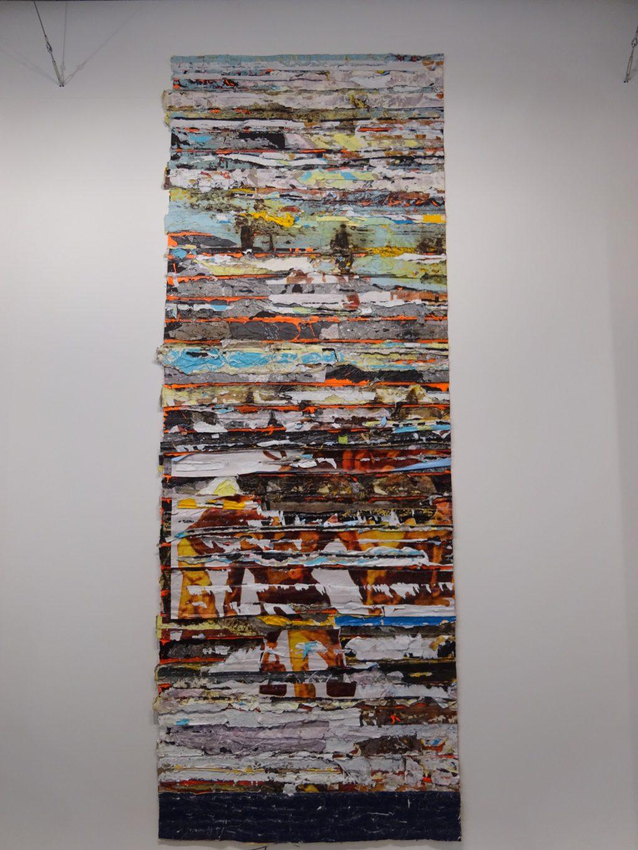 "Mark Bradford ""Battle (Trimmed Extra) 2017, mixed media on canvas, unique, 353.1 x 132.1 x 3 cm Hauser & Wirth"