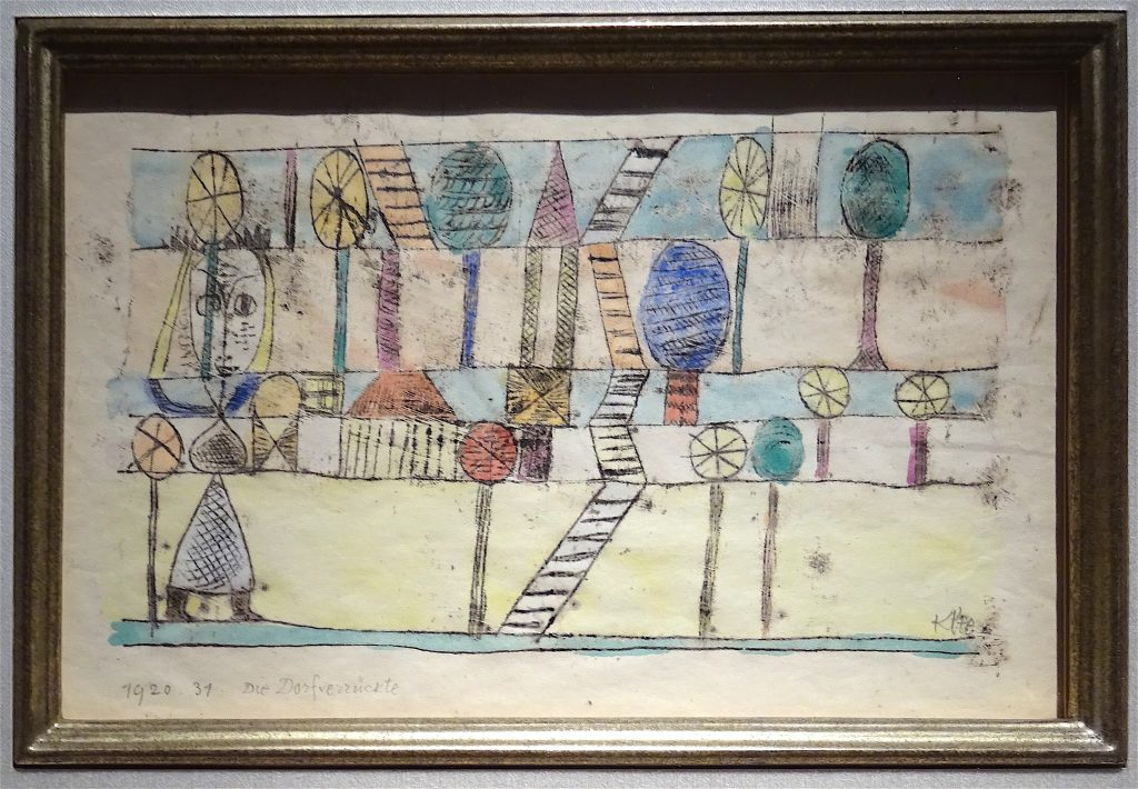 "Paul Klee ""Die Dorfverrückte"" 1920, Watercolor over oil transfer on paper, 20.6 x 25 cm @ Landau Fine Art"