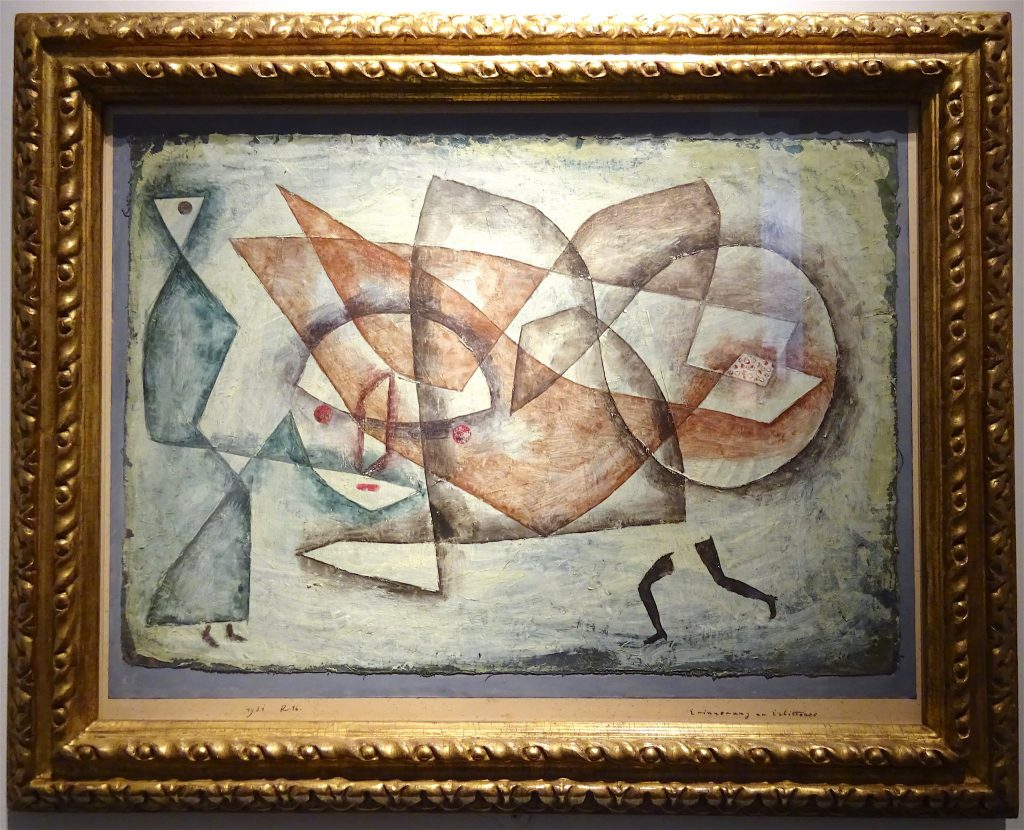 """Paul Klee """"Erinnerung an Erlittenes"""" 1931, Oil and watercolor on muslin laid down on card with gouache, 34 x 49.5 cm @ Landau Fine Art"""