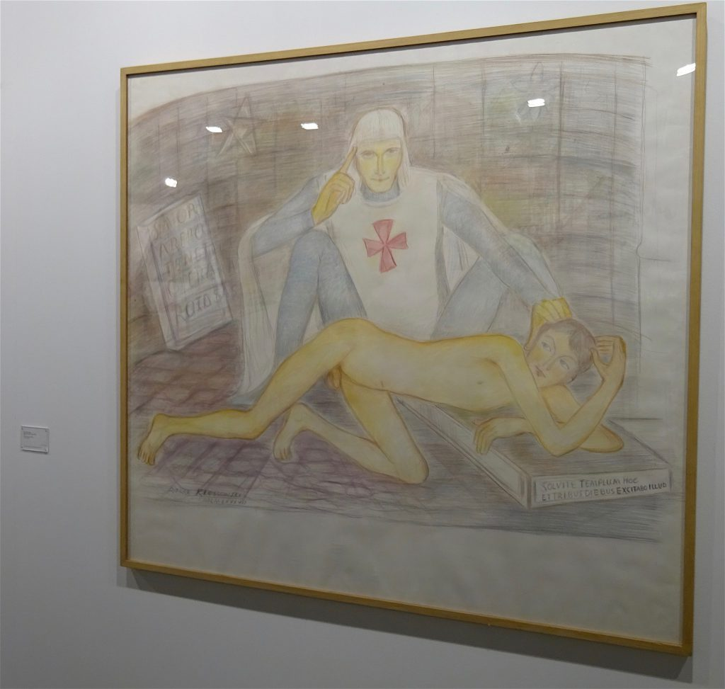 "Pierre Klossowski ""Malvoisie initiant le jeune Ogier"" 1987, Coloured pencil on paper, 137.5 x 150 cm @ CABINET"