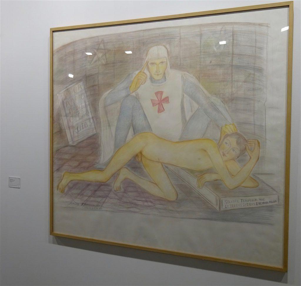 """Pierre Klossowski """"Malvoisie initiant le jeune Ogier"""" 1987, Coloured pencil on paper, 137.5 x 150 cm @ CABINET"""