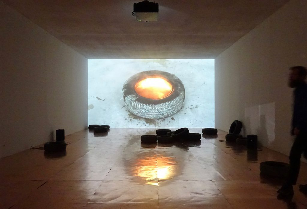 "Rirkrit Tiravanija ""untitled 2015 (bangkok boogie boogie, no.1)"" 2015, Bronze tires, copper sheets, video, color, sound; dimensions variable, Gavin Brown's enterprise"