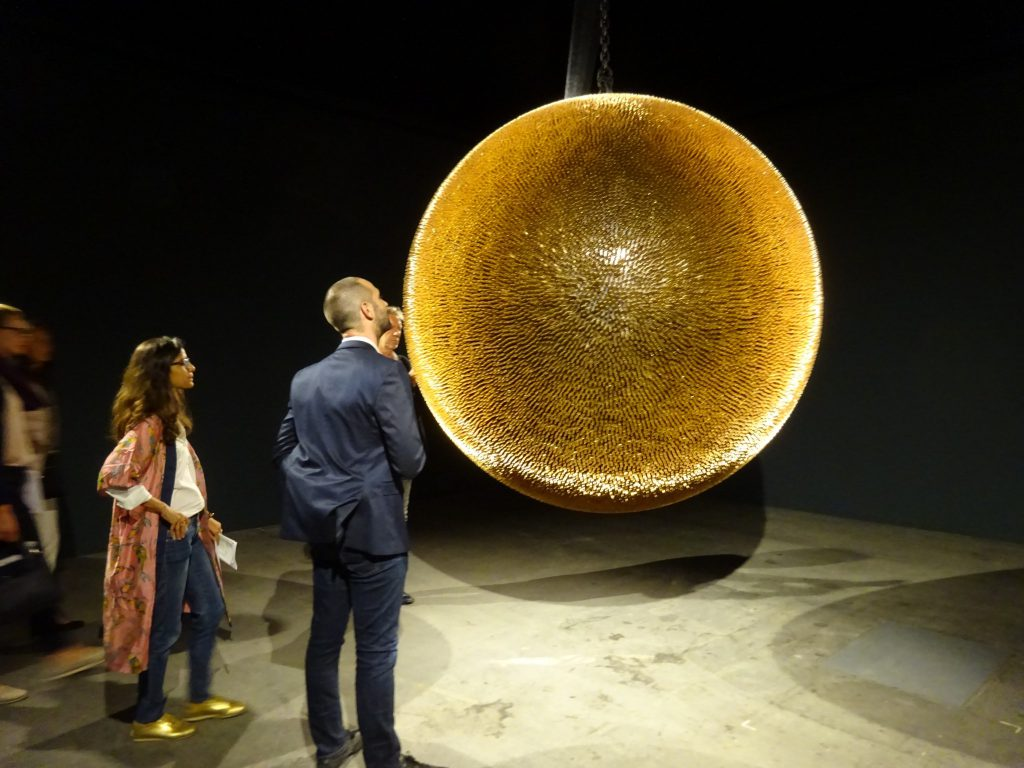 """Robert Longo """"Death Star II"""" 2017-2018, 40.000 copper and brass full metal jacket bullets, steel armature @ UNLIMITED Metro Pictures-Thaddeus Ropac"""