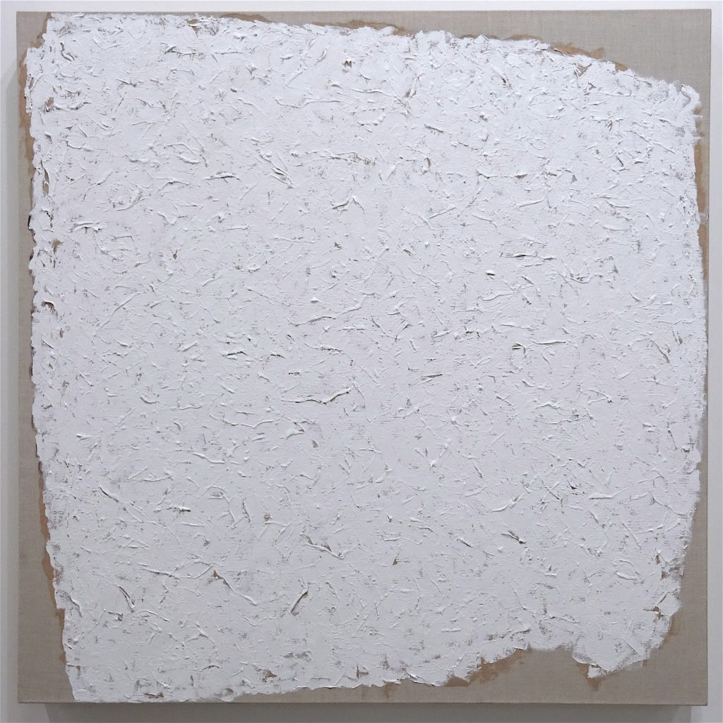"Robert Ryman ""Mark"" 2002 Oil on linen, 101.6 x 101.6 x 7.6 cm @ David Zwirner"