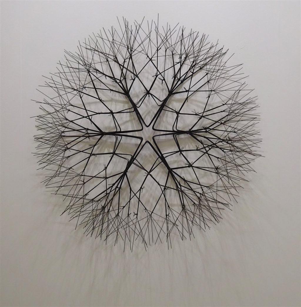 """Ruth Asawa """"Untitled (S.279, Wall-Mounted Tied-Wire, Open-Center, Six Branched Form)"""" c. 1965-1969, Wall-mounted sculpture, bronze wire, 83.8 x 83.8 x 22.9 cm @ David Zwirner"""