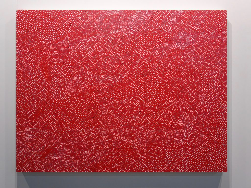 "Yayoi Kusama ""INFINITY-NETS (JSAL) 2015, Acrylic on canvas, 112.1 x 145.7 cm, Titled and dated verso @ David Zwirner booth"