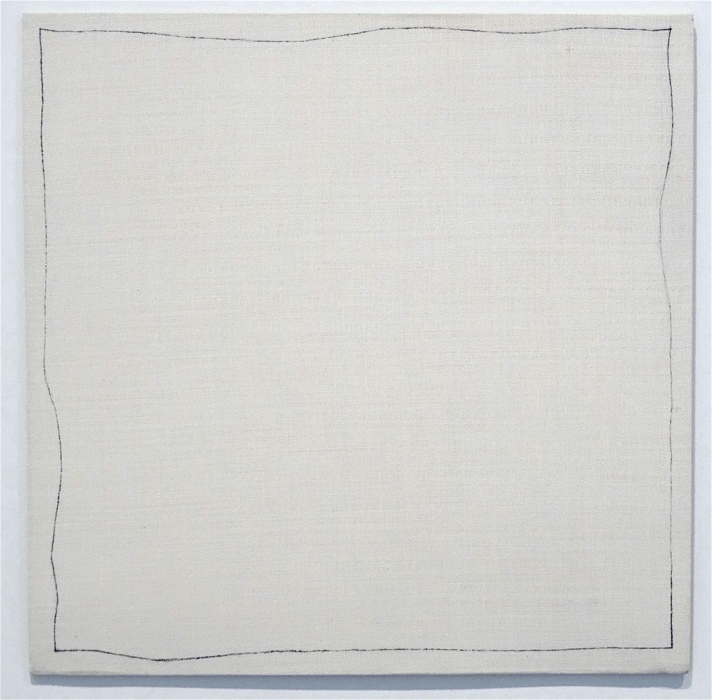 "ロバート・ライマン Robert Ryman ""Bent Line Drawing 20"" x 20"""", 1970, Ball-point pen on stretched polyester fabric over fiberboard, 50.8 x 50.8 cm"