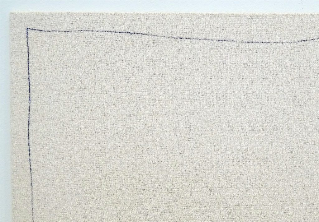 "ロバート・ライマン Robert Ryman ""Bent Line Drawing 20"" x 20"""", 1970, Ball-point pen on stretched polyester fabric over fiberboard, 50.8 x 50.8 cm, detail"