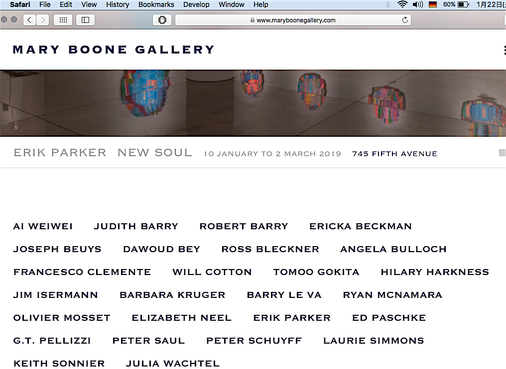 Artist's line up at Mary Boone Gallery screenshot from 2019-1-22