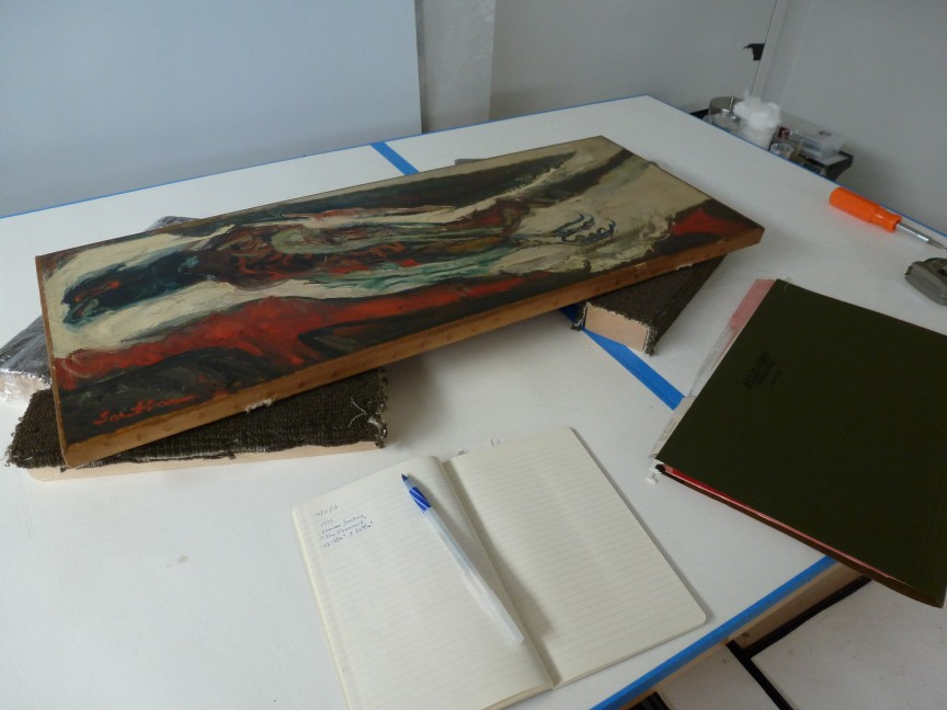"Chaïm Soutine ""The Pheasant"" 1926-27 being checked by the conservator"