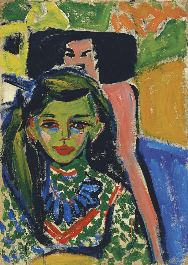 "Ernst Ludwig Kirchner ""Fränzi in front of Carved Chair"" 1910"