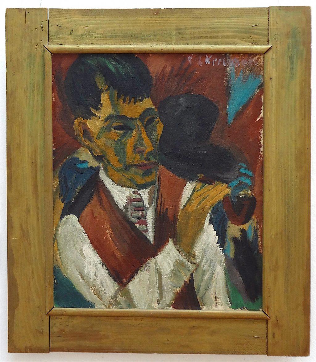 """Ernst Ludwig Kirchner """"Otto Mueller mit Pfeife"""" 1913"""