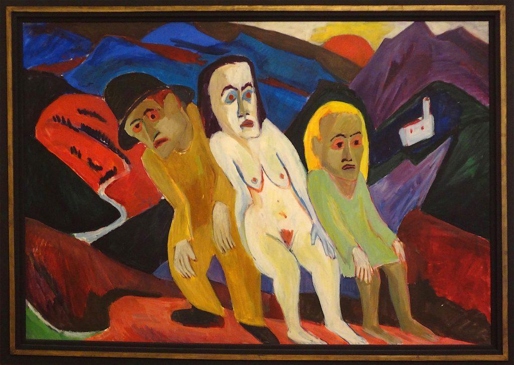 """Hermann Scherer """"Drei Menschen in Landschaft"""" 1925"""