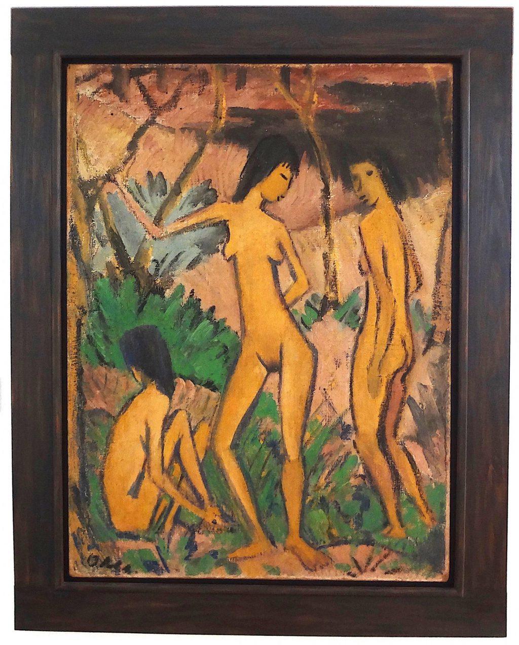 """Otto Mueller """"Drei Akte in Landschaft"""" 1922"""