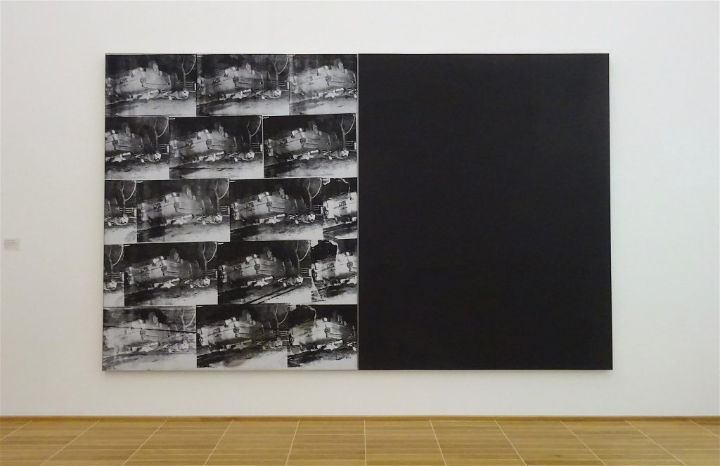 アンディ・ウォーホル Andy Warhol 「Black and White Disaster #4 (5 Deaths 17 Times in Black and White)」1963, Acryl, Siebdruckfarbe und Bleistift auf Leinwand