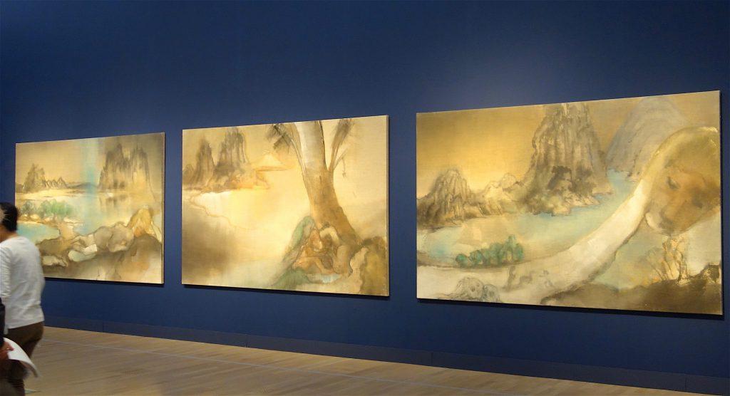 イケムラレイコ IKEMURA Leiko 「Tokaido 東海道, Genesis 始原 and Tokaido 東海道」 2015, Tempera on jute, each 190×290 cm