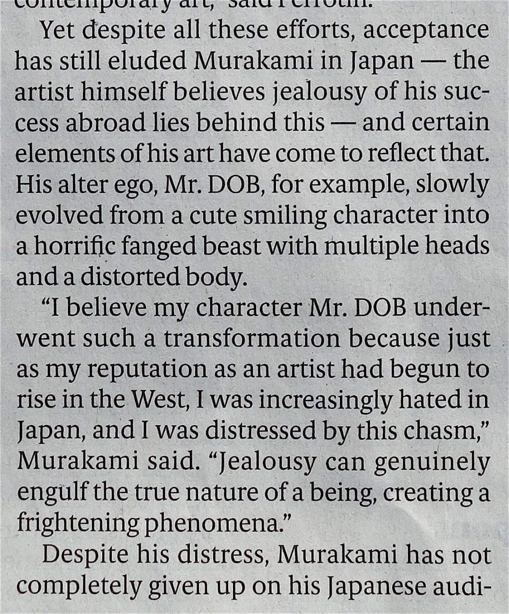 村上隆 MURAKAMI Takashi Japan Times 2019年3月14年, page 3, quote