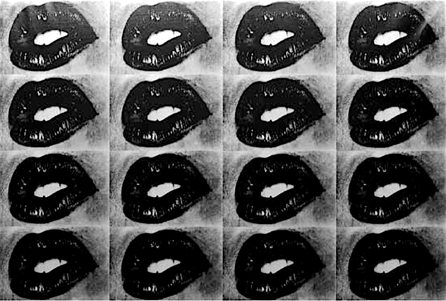 "森山大道 MORIYAMA Daido ""Untitled (Lips 16 Times)"" 2001, Silkscreen on canvas, black on silver, printed 2018, 136.4 x 203.2 cm, edition 3"