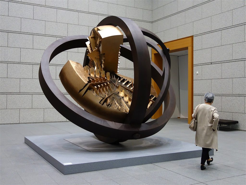 Arnaldo Pomodoro 'Gyroscope of the Sun' 1988, iron, bronze