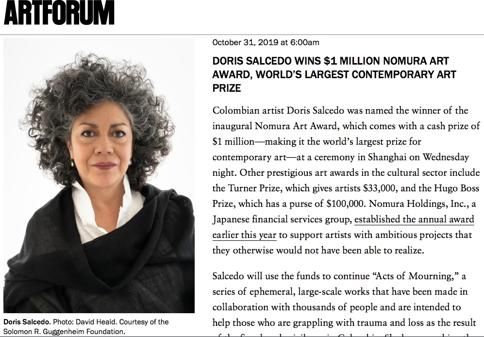 Doris Salcedo wins Nomura Art Award 2019, ARTFORUM screenshot