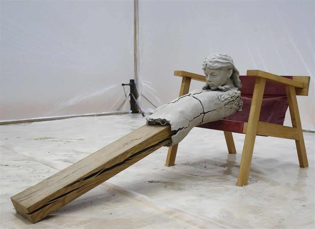 Mark Manders Dry Figure on Chair 2011-15, Painted bronze, wood, offset print on paper, acrylic