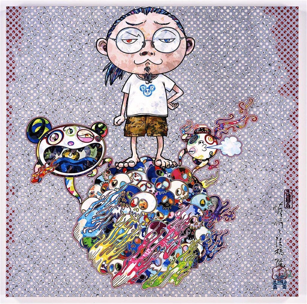 """桶田コレクション展 MURAKAMI Takashi 村上 隆 """"Mr. DOB Comes to Play His Flute"""" 2013, acylic on canvas, mounted on aluminium frame, 100 × 100 cm"""