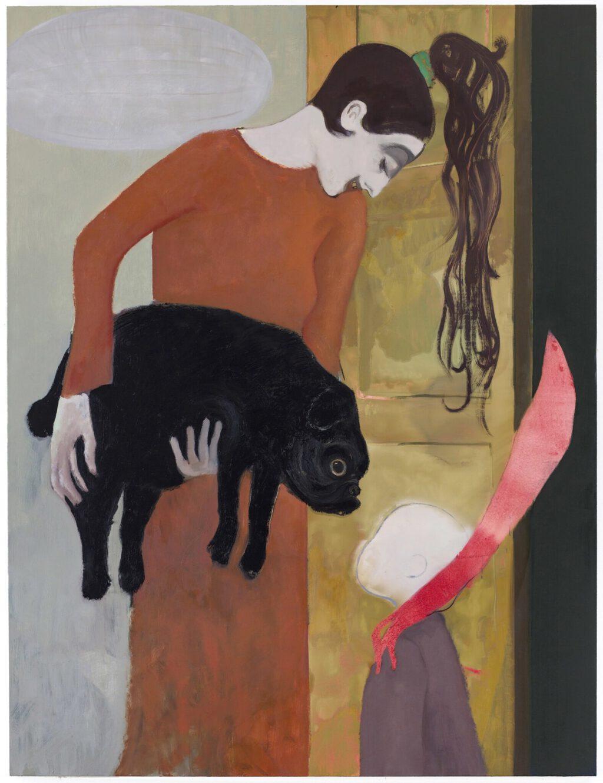 """桶田コレクション展 Sanya Kantarovsky サーニャ・カンタロフスキー """"Good Host II"""" 2019, oil + water color on canvas, 215.9 × 165.1cm"""