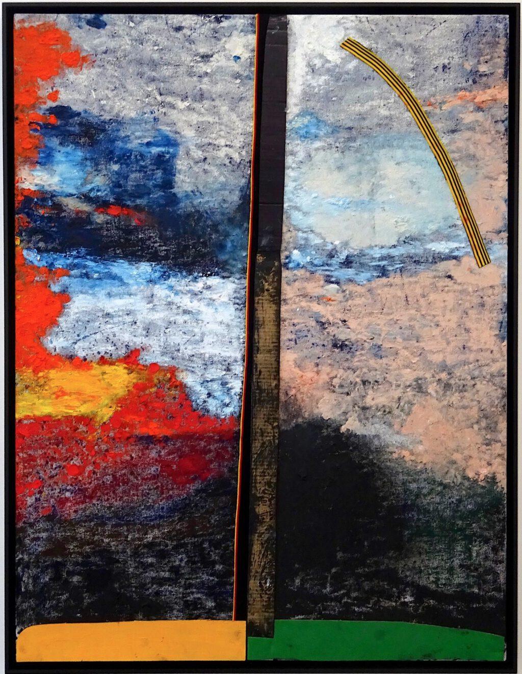 """桶田コレクション展 Sterling Ruby スターリング・ルビー """"VERT.PROUN (6606)."""" 2018, Acrylic, oil, elastic and cardboard on canvas, 149.9 x 115.6 x 8.3 cm"""