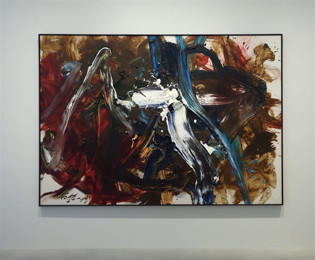 白髪一雄 SHIRAGA Kazuo 'Ryusen' 1991, oil on canvas, 181.9 x 258.4 cm
