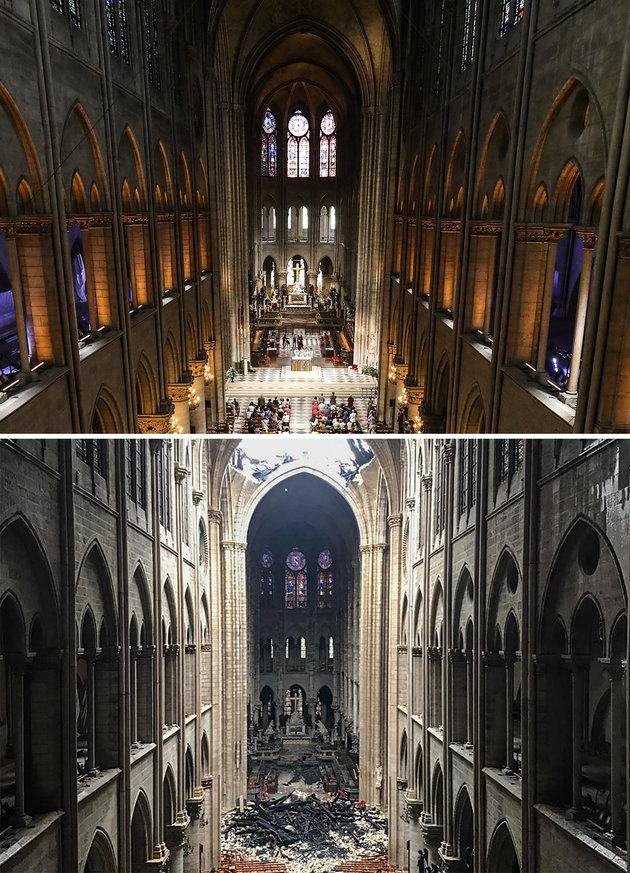 Cathédrale Notre-Dame de Paris パリ・ノートルダム大聖、内部画像の比較