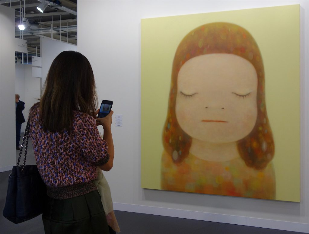 "奈良美智 NARA Yoshitomo ""Not Yet Titled"" 2019, Acrylic on canvas, 220 x 195 cm, sold for US$ 2 million (= 約2億1千700万円)@ BLUM & POE, Art Basel 2019"